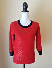 J Crew Womens Sweater Wool Blend Scattered Sequins Embellished Red Size Small