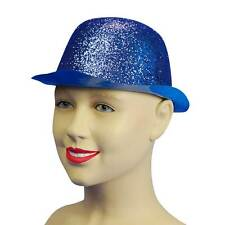 Blue Gliter Plastic Bowler Hat, Dance/Fancy Dress Headwear Accessory