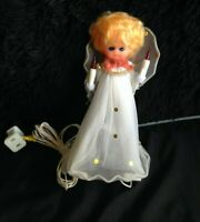 Vintage Light-up Angel Tree Topper~ Hard Plastic Doll Head~ WORKS~ 50s/60s