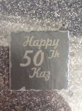Personalised Laser Engraved Slate Coasters mat placeMat Gift Any Name Message