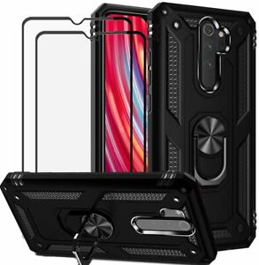 for Xiaomi Redmi Note 8 Pro Case Tempered Glass Screen Protector 2 Pack Rugged