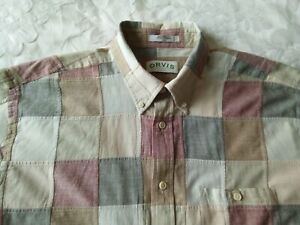 Vintage Orvis Country Style Patchwork Button Down Short Sleeve Shirt Sz 2XL/XXL