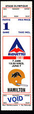 Montreal Alouettes vs Hamilton Tiger-Cats June 7 1981 Unissued Void Ticket