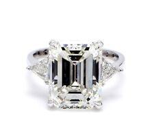 3.00 ct. 3 Stone Emerald Cut W/ Trillion Diamond Engagement Ring Gia F, Vs1 14k