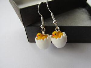 Handmade Miniature Easter Inspired - Golden Chick & Egg Earrings - Gift Boxed