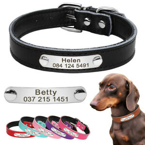 Dog Collar for Small Dogs Chihuahua Yorkie Personalised Leather Dog Collars XS-M