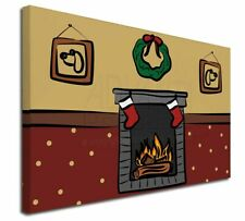 """Christmas Fire Place 30""""x20"""" Wall Art Canvas, Extra Large Pi, Christmas-20-C3020"""