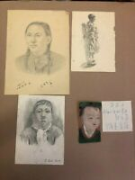 KOREA AMERICAN WAR 3 PENCIL DRAWINGS 1955 + ONE OLDER MIXED TECHNIQUE RARE !!