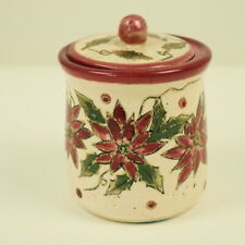 Vintage USA CRAZY MOUNTAIN Pottery Candle Pot Xmas Poinsettia