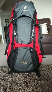 Deuter Aircontact 65+10 Backpack plus Transport Cover in Anthracite/Fire - VGC