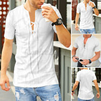 Mens Short Sleeve V Neck Muscle T Shirts Lace Up Casual Slim Fit Blouse Tee Tops