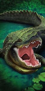 "Green Gator Beach Bath Towel 30"" x 60"" Wild Animals Velour"