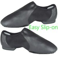 SLIP ON JAZZ DANCE SHOES Black Leather split irish ballet leotard sole UNISEX CC