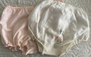 Vintage Lot of 2 Diaper Covers Girls 12 months Poly-Cotton 1970s