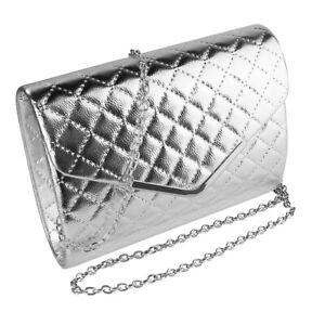 Women Silver Small Quilted Faux Leather Evening Clutch Chain Shoulder Purse Bag