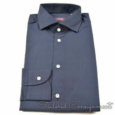 SARTORIA PARTENOPEA Blue Polka Dot 100% Cotton Luxury Dress Shirt - NEW - 15.5