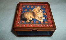 VTG Clear, purple, mirrored glass & Brass Trinket Curio Box w/ a Kitty on Top