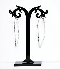 Silver Drop Dangle Metal Earrings 1980'