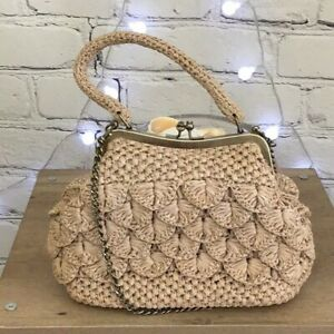 Patricia Nash Raffia and Cotton Top Handle Frame Bag with Chain Strap