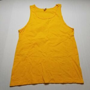Fruit Of The Loom Yellow Tank Top Shirt Mens M Sleeveless Work Out Gym Plain ☆32