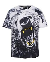 Wild Grizzly Bear T-Shirt ( all over graphic animal print printed scary top )