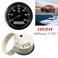 0-6000 RPM 85mm/3 3/8'' Marine Tachometer Boat Gauge Car Truck Digital Hourmeter