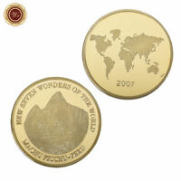 WR Seven Wonders of Peru Machu Picchu GOLD Coin Travel Famous Souvenirs Gift 24K