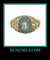 14K YELLOW & WHITE GOLD BLUE TOPAZ & DIAMOND RING
