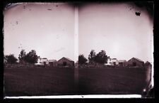 ANTIQUE GLASS NEGATIVE, FC PHILPOT, COUPLE,  GREAT OLD FARM WITH STONE WALL