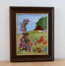 HINTERGLASMALEREI Naive Malerei im Holzrahmen Original Hinterglas Bild Frühling
