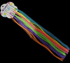 """hair grips 14"""" HAIR EXTENSION NEON RAINBOW STRIPED EMO SCENE PUNK RAVE FUNKY"""