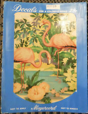 Vintage Meyercord Decals X307B 2 Pink Flamingos in Water Flowers