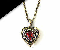 Women Girls Retro Vintage Look Angel Wing Red Heart Sweater Necklace Pendant