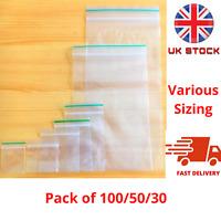 100 Resealable Clear Plastic Bags Grip Self Baggies Baggy press Seal Zip Lock UK