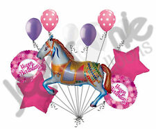 11 pc Decorative Carousel Horse Balloon Bouquet Happy Birthday Circus Carnival