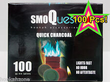 100 Pcs SMOQUEST Hookah Charcoal Quick Lite Shisha coal Incense 10 Rolls FAKHER