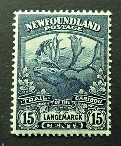 "NEWFOUNDLAND #124b VF LH* PRUSSIAN BLUE ""FIFTEEN CENT CARIBOU"" CAT.$400 CAN. SHI"