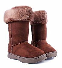 Brown nn Bamboo Faux Fur Top Casual Slip On Womens Mid-calf Boots Size 6