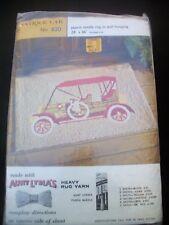 "Punch Needle Rug Canvas Stamped Antique Car Design 620 Aunt Lydias 24"" x 36"" Vtg"