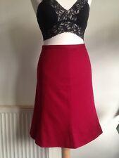 """JIGSAW Wool Angora Cashmere Mix Deep Red Knee Skirt. Size UK 10 8. 27"""" Waist"""