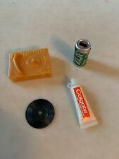 4 Vintage Barbie Accessories-Record Player & Record, Toothpaste & 7 Up Can Lot