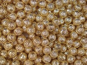 Metal Beads 10mm Round Gold 25pc Spacer Tibetan DIY Jewellery Charm FREE POSTAGE
