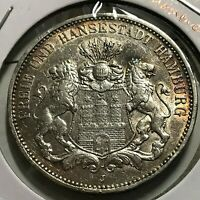 1910-J GERMANY HAMBURG SILVER 3 MARKS BRILLIANT UNCIRCULATED CROWN COIN