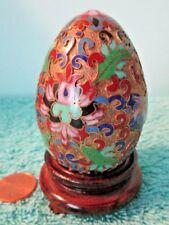 Vintage Ornate Porcelain Cloisonné Egg, Floral & Design, Footed Wood Stand