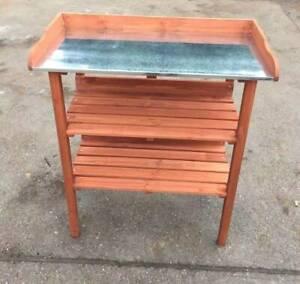 Wooden Garden Potting Table Bench 3 Tier 3 Hooks