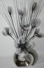 Artificial Flowers Black White Nylon Net Flower Arrangement in Silver Vase.