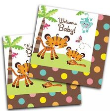 16 x Napkins 33cm 2ply Zoo Baby Shower Party Tableware Supplies Elephant Giraffe
