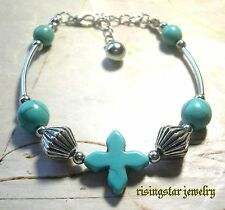 Lady Elegant Cross Blue Turquoise Tibet Silver Metal Beads Adjustable Bracelet