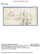 NEDERLAND 1860  OMSLAG AMSTERDAM = DOORN   ~NA POSTTIJD~
