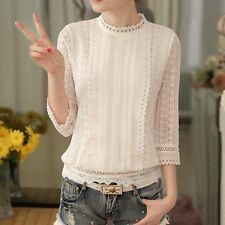 New Women Autumn Elegant White Lace Stand Collar Long Sleeve Casual Shirt Tops
